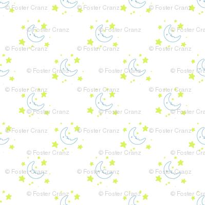 Moon & Stars Nighttime Print - White wallpaper - fossyboots