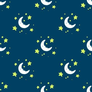 Moon & Stars Print - Navy