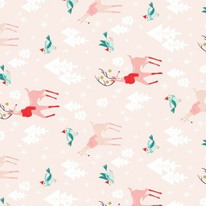 Christmas Woodland Animals Blush Pink for Tea Towels