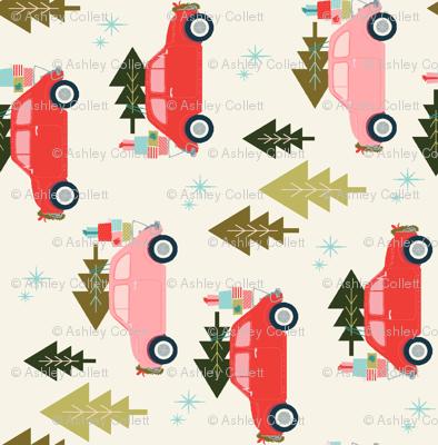 Christmas Car Cream for Tea Towels
