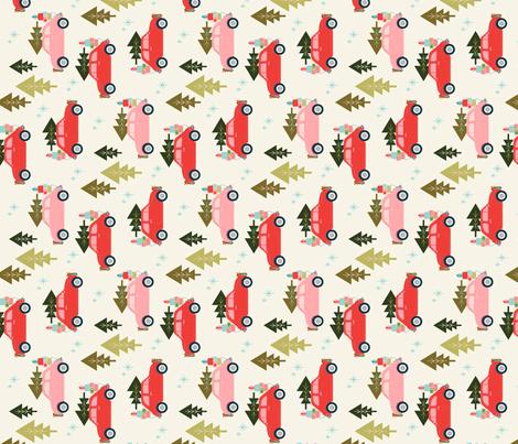 Christmas Car Cream for Tea Towels fabric by acdesign on Spoonflower - custom fabric