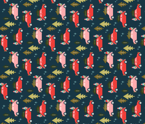 Christmas Car Navy for Tea Towels fabric by acdesign on Spoonflower - custom fabric