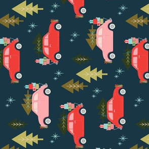 Christmas Car Navy for Tea Towels