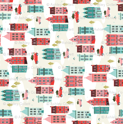 Scandinavian Christmas Row House Village for Tea Towels