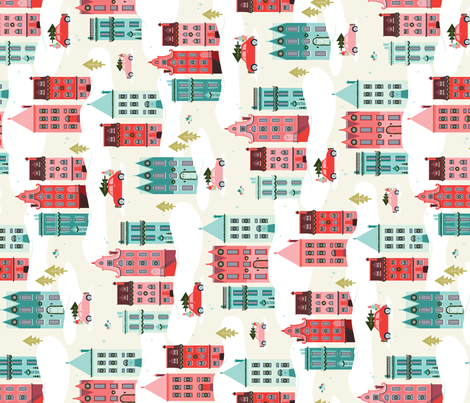 Scandinavian Christmas Row House Village for Tea Towels fabric by acdesign on Spoonflower - custom fabric