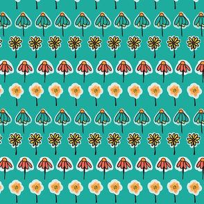 Doodle flowers orange, yellow, teal, blue, black in a horizontal row on a teal turquoise background.
