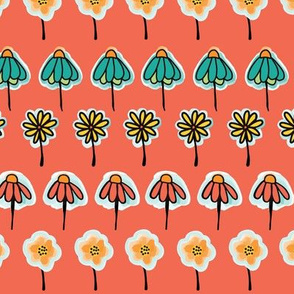 Doodle flowers orange, yellow, teal, blue, black in a horizontal row on a coral background