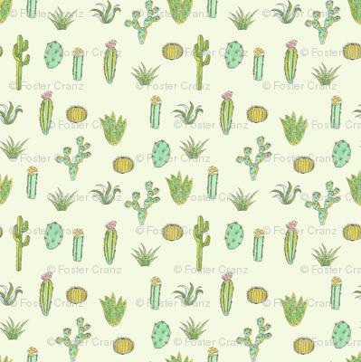 Cactus Print - Mint Green