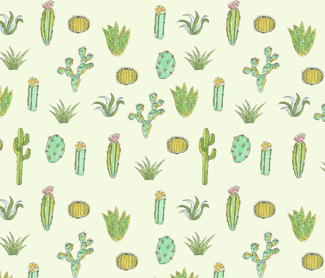 Cactus Print - Mint Green fabric by fossyboots on Spoonflower - custom fabric