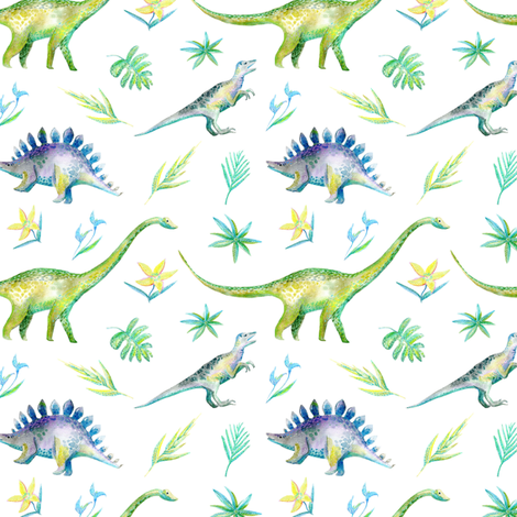 Modern Dinosaurs fabric by hipkiddesigns on Spoonflower - custom fabric