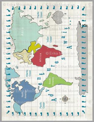 Map Vintage scroll framed VERTICAL - Adventures 675 - Continent