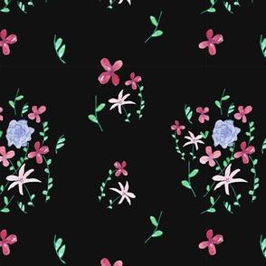 black floral fashion pattern