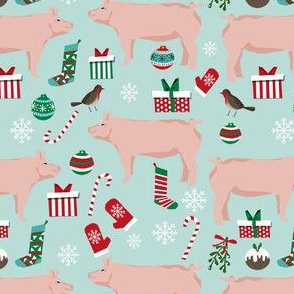 Pig christmas fabric stockings candy canes presents blue