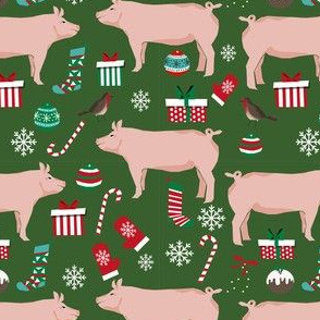 Pig christmas fabric stockings candy canes presents green