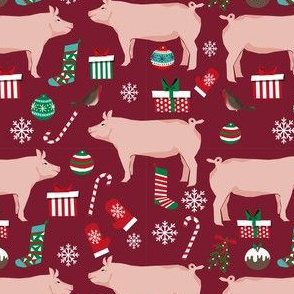 Pig christmas fabric stockings candy canes presents ruby