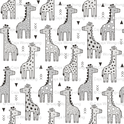 Giraffe Geometric and Triangles in Black&White Grey