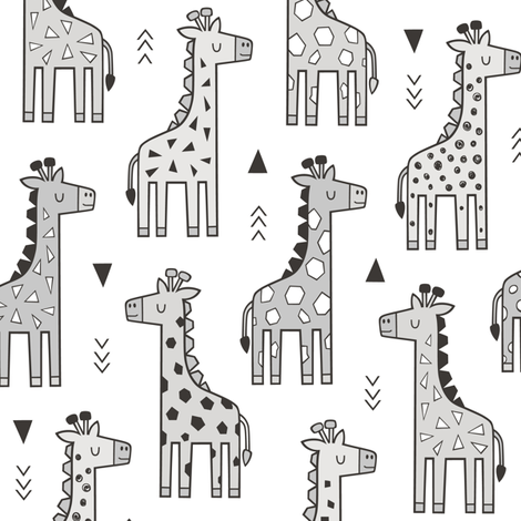 Giraffe Geometric and Triangles in Black&White Grey fabric by caja_design on Spoonflower - custom fabric