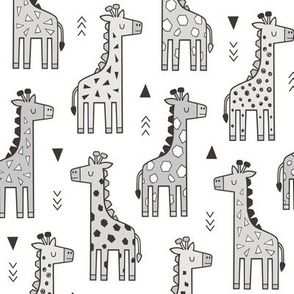 Giraffe Geometric and Triangles in Black&White Grey