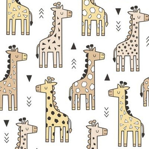 Giraffe Geometric and Triangles in Black&White Soft Yellow Beige