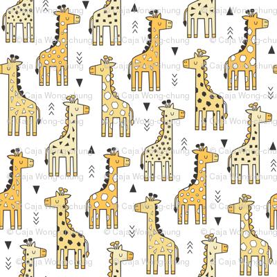 Giraffe Geometric and Triangles in Black&White Yellow