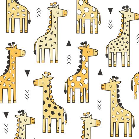 Giraffe Geometric and Triangles in Black&White Yellow fabric by caja_design on Spoonflower - custom fabric