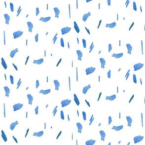 light blue paint daubs blobs dots dalmation dots print