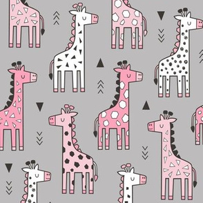 Giraffe Geometric and Triangles in Black&White Pink on Grey