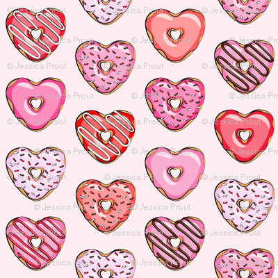 "2"" heart shaped donuts - valentines red and pink on light pink"