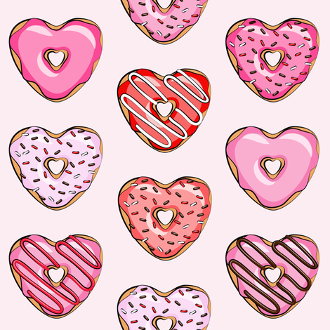 "2"" heart shaped donuts - valentines red and pink on light pink fabric by littlearrowdesign on Spoonflower - custom fabric"