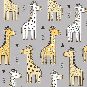 Giraffe Geometric and Triangles in Black&White Yellow on Grey