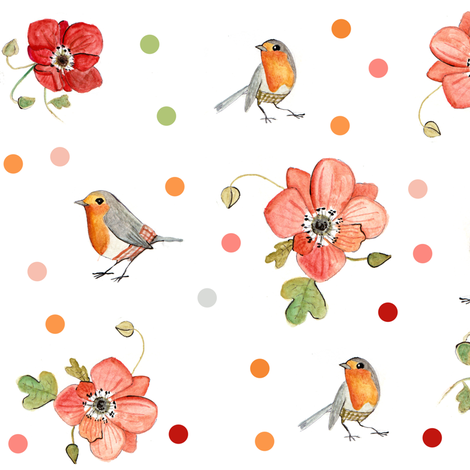 robin and windflower fabric by potyautas on Spoonflower - custom fabric