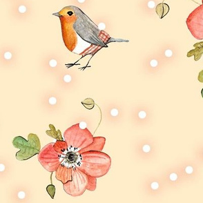 robin windflower pink dots