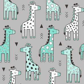 Giraffe Geometric and Triangles in Black&White Mint Green on Grey