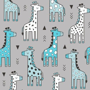 Giraffe Geometric and Triangles in Black&White Blue on Grey