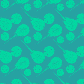 horseshoe crabs and sand dollars teal on blue
