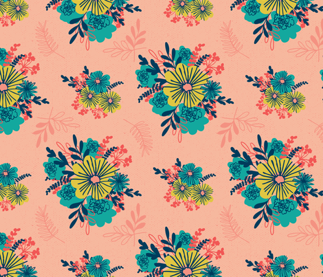 Vintage Teal and Marigold on Salmon Blush fabric by retrorudolphs on Spoonflower - custom fabric