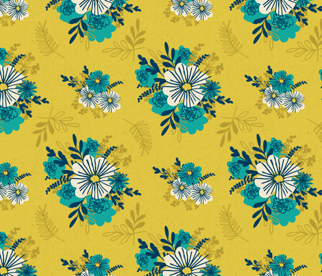 Vintage Teal on Gold fabric by retrorudolphs on Spoonflower - custom fabric
