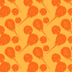 horseshoe crabs and sand dollars orange on gold