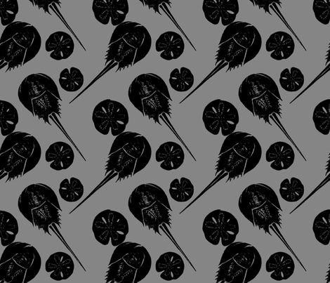 horseshoe crabs and sand dollars black on gray fabric by heretherebemonsters on Spoonflower - custom fabric