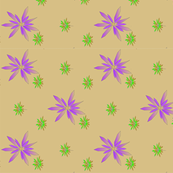 purple and green floral on taupe