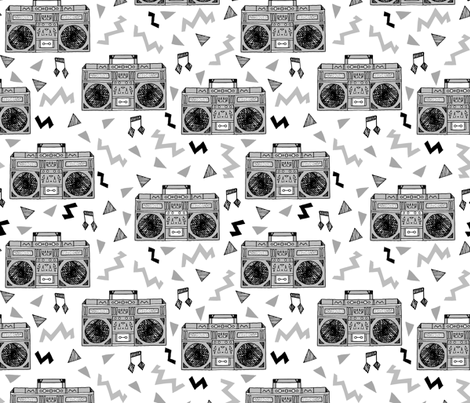 80s Boombox (XLARGE) // grey 80s fabric rad 90s fabric cassette cassettes fabric memphis inspired fabric fabric by andrea_lauren on Spoonflower - custom fabric