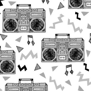 80s Boombox (XLARGE) // grey 80s fabric rad 90s fabric cassette cassettes fabric memphis inspired fabric