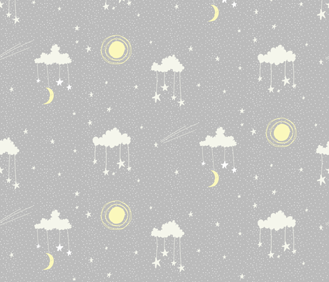 Hanging Stars fabric by scarlette_soleil on Spoonflower - custom fabric