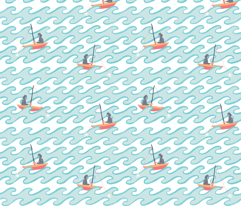 Fishing for Stars fabric by scarlette_soleil on Spoonflower - custom fabric