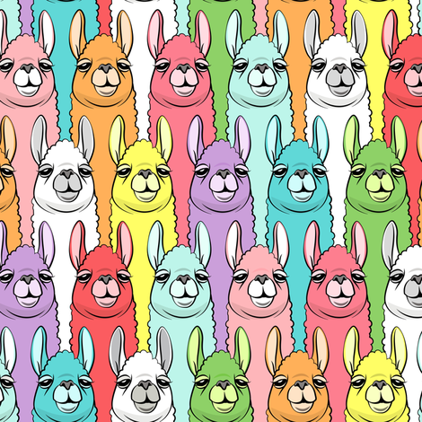 rainbow llamas fabric by littlearrowdesign on Spoonflower - custom fabric