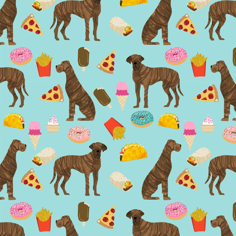 great dane brindle junk food dog breed fabric blue fabric by petfriendly on Spoonflower - custom fabric