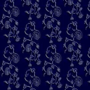 Embossed Vines Blue