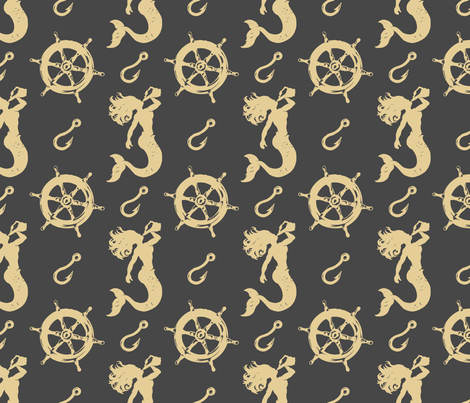 mermaids hooks and wheels charcoal and tan fabric by heretherebemonsters on Spoonflower - custom fabric