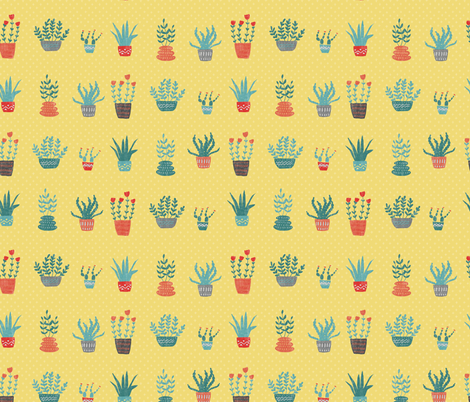 Happy House Plants fabric by scarlette_soleil on Spoonflower - custom fabric