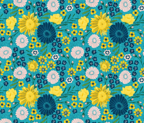 Sunflowers and Daisies fabric by scarlette_soleil on Spoonflower - custom fabric